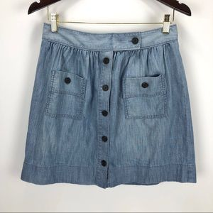 J Crew Button Up Chambray Mini Skirt Blue - M / L